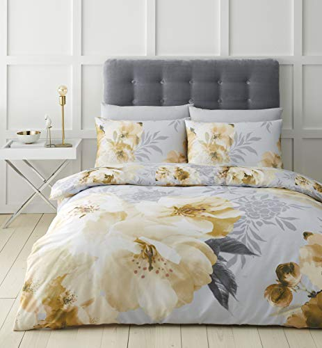Catherine Lansfield Dramatic Floral Easy Care Double Duvet Set Ochre