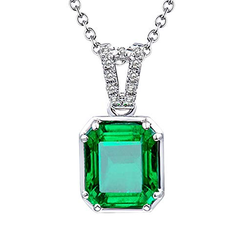 ButiRest Necklace Real Gold 750 Pendant 18 Carat White Gold with Rectangular Cut 1.6ct Green Emerald VS2 and 0.05ct Diamond