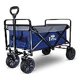 TMZ Folding Wagon Cart Collapsible Outdoor Utility Wagon Garden Shopping Cart Beach Wagon with Rubber Wheels, 264 Pound Capacity(Blue/Gray)