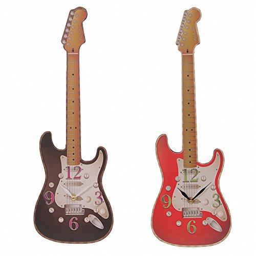 Orologio da parete–Orologio a forma di chitarra in Nero (ckp68-b)