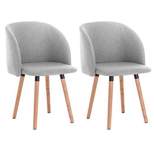 WOLTU 2X Sillas de Comedor Nordicas Estilo Vintage Dining Chairs Juego de 2 Sillas de Cocina Sillas Tapizadas en Lino Silla de Conferencia Silla de Escritorio Gris Claro BH120hgr-2