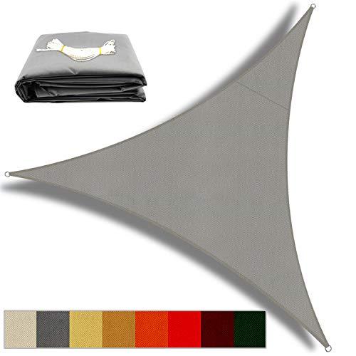 OKAWADACH Toldo Vela de Sombra Triangular 3 x 3 x 3m, Vela de Sombra Protección UV para Patio, Exteriores, Jardín, Gris Claro