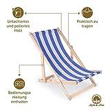 Amazinggirl Liegestuhl klappbar aus Holz Klappliegestuhl mit armlehne Strandstuhl Holzklappstuhl Garten - 6