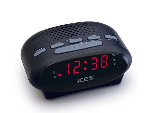 iCES ICR-210 Uhrenradio - Radiowecker mit 2 Weckzeiten - PLL FM - Schlummerfunktion - Sleeptimer - Gangreserve - schwarz, klein, ICR-210 Black