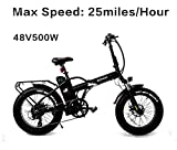 SOHOO 48V500W10AH 20' x4.0 Folding Fat Tire Electric Bicycle Mountain E-Bike Removable Battery Foldable Snow Electric Bike