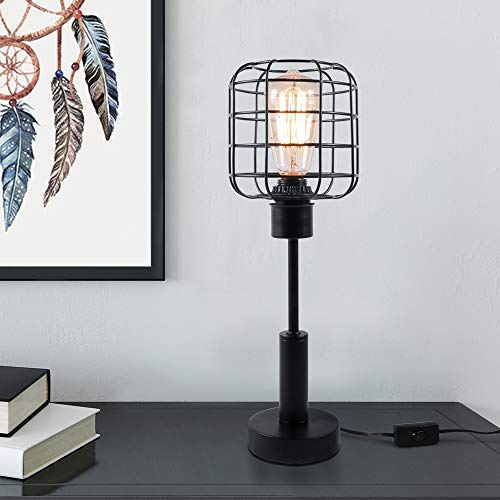 Edison Lamp, Industrial Desk Lamp, Metal Shade Cage Table Lamp for Nightstand, Bedside, Dressers, Coffee Table, Night Light Home Decor, Black