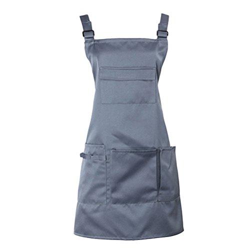 Nanxson Adjustable Women Bib Apron Multi Function Professional Salon Stylist Work Apron with Tool Pockets CF3010 grey