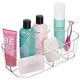 mDesign Cesta de baño con asa – para Usar como Organizador de cosméticos, Caja organizadora para Cocina o toallero – Cesta para Ducha pequeña en plástico Resistente – Transparente
