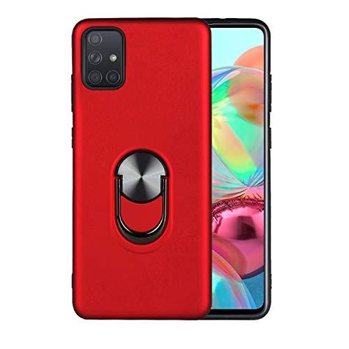 Funda Samsung Galaxy A51 / A71 Suave Multicolor Silicona Magnético Coche Carcasa Galaxy A51 / A71 Anillo Invisible Soporte Estuche TPU + PC Delgado Anti Choque Proteccion Caja (Rojo, A71)
