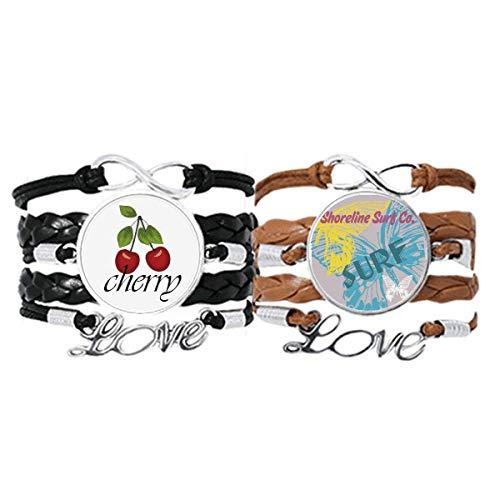 Summer Shoreline Surf Butterfly Pulsera Correa de mano Cuerda de cuero Cherry Love Wristband Set doble
