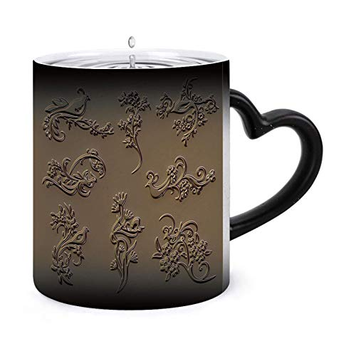 Ornament Sets 3D Embossed Pattern 12 oz Morphing Mugs Heat Sensitive Mug – Ceramic Color Changing Coffee Tea Mug