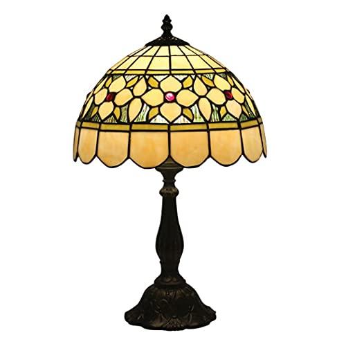 Lámpara de mesa estilo Tiffany, escritorio de 12 pulgadas al lado de lámparas, pantalla de vitrales 1 luz retro americano para mesa de café, sala de estar, dormitorio (Material: Resina) Nice family