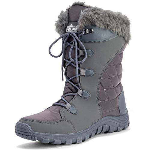POLAR Womens Quilted Lace Up Outdoor Snow Rain Duck Boot - Gray - US9/EU40 - YC0511