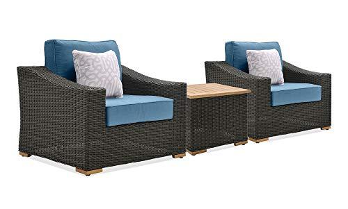 La-Z-Boy Outdoor New Boston 3 Piece Wicker Patio Conversation Set: 2 Lounge Chairs and Side Table (Denim Blue)