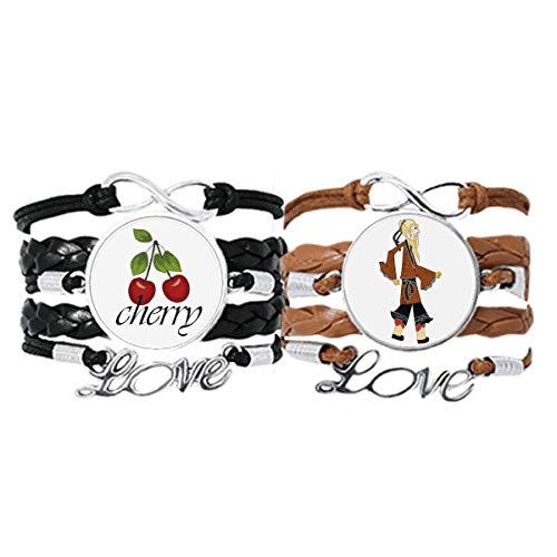 Bestchong Pulsera de piel con patrón de juego de sombras de la cultura china, correa de mano, cuerda de cereza, amor pulsera