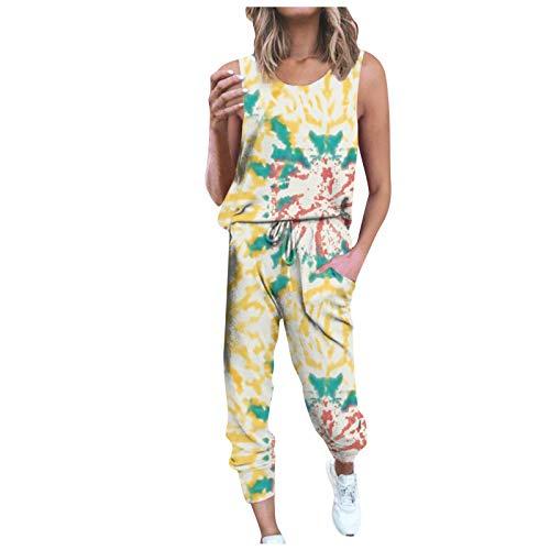 Women Sportswear Set Tie-Dye Sleeveless Vest Trousers Sports Suit Active Wear Set for Women Casual Loose Sweat Ladies Tops+ Drawstring Sweatpants, Gift Tank Tops Set for Best Friends