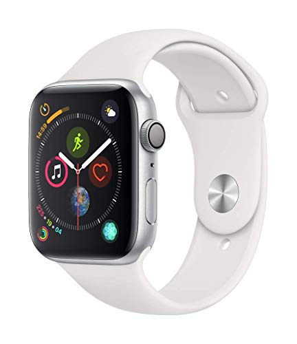 Apple Watch Series 4 (GPS,44mm) - Silver Aluminium Case with White Sport Band (Renewed)