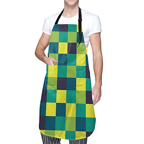 COFEIYISI Delantal de Cocina Azulejo de cuadrícula de estilo retro simple funky de cuadrados de colores vivos Delantal Chefs Cocina para Cocinar/Hornear