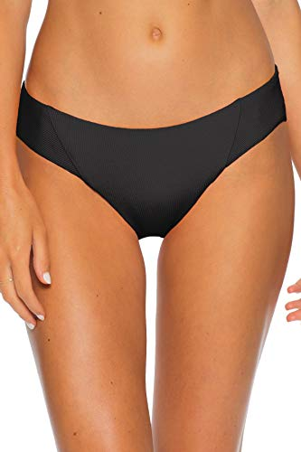 Becca by Rebecca Virtue Women's American Ribbed Tab Side Hipster Bikini Bottom Black XL