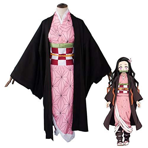 GGOODD Conjunto De Kimono Impreso De Alta Definición Tradicional Japonés para Mujer, Disfraz de Kimono Bonito para Fiesta De Halloween, Disfraz De Cosplay Anime Demon Slayer,L
