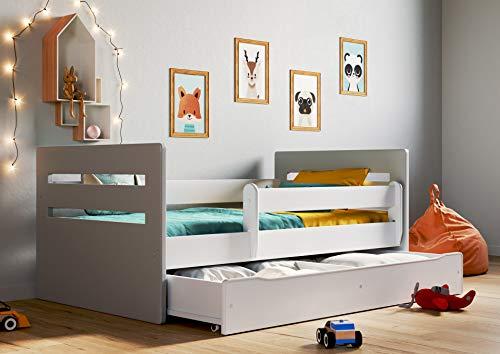 Lit enfant Lit enfant junior Lit simple pour enfant avec matelas et tiroir sous lit inclus - Tommy | Parfait pour les garçons et les filles | Peintures écologiques utilisées |,(Gris,180x80)