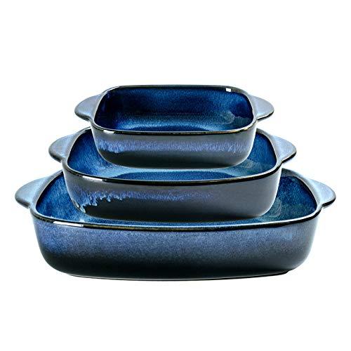 Baking Dish Set of 3, UNICASA Ceramic Bakeware Set, 9x13 Casserole Dish Reactive Glaze, Rectangular Baking Pans for Oven, Lasagna Pans for Cooking, Space Blue