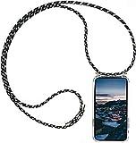 AKC Funda con Cuerda Compatible para iPhone 7/8/SE(2020) Carcasa Colgante Cadena Acrílico Caso con Ajustable Collar Correa Anti-Choque Case-Camuflaje