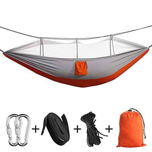 Camping Hammock Portable Indoor Outdoor Tree Hammock with 2 Hanging Straps, Lightweight Nylon Parachute Hammocks for Backpacking, Travel, Beach, Backyard, Hiking (Blue/Grey)