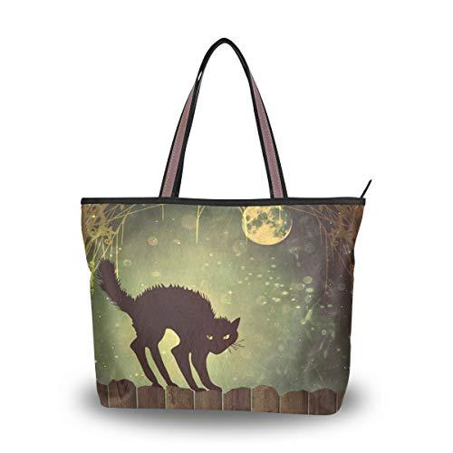 Emoya - Bolso de mano para mujer con diseño de gato negro sobre valla de madera vintage y luna nocturna, bolso de mano con asa superior, L, color Multicolor, talla Large