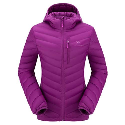 CAMEL CROWN Chaqueta de Plumón Invierno para Mujer Chaquetas de Esquí Ligero con Capucha, Jacket Nieve para Acampada y Marcha