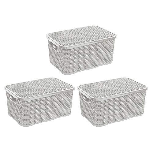 BranQ - Home essential Deckel Korb in Rattan Design 3er Set Grösse L 19l, Kunststoff PP, Creme, 19 l, 3
