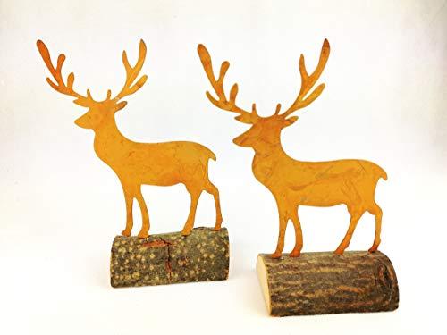 4x Hirsch Figur Metall Rost auf Holzfuß 21cm Skulptur Deko Weihnachten Weihnachtsdeko Herbst Jagd