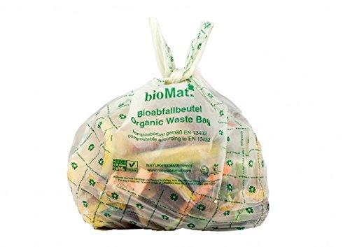 10 Lt. BIOMAT® kompostierbare Bioabfallbeutel (26 Stk. Biobeutel mit Henkel)