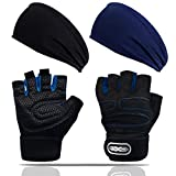 Workout Gloves Adjustable Weight Lifting Gloves Men Women Breathable Fitness Exercise Gloves with 2 Pcs Running Sports Headbands, Weightlifting Gloves for Pull ups/Cycling/Gym Training