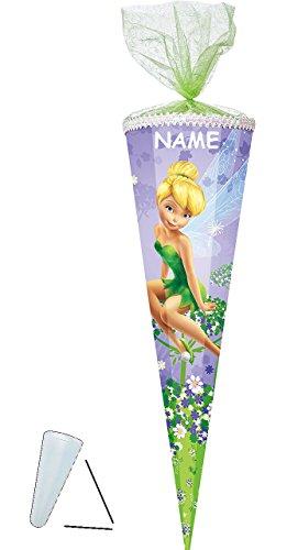 alles-meine.de GmbH Schultüte -  Fairies - Fee Tinkerbell  - 50 cm - rund - incl. Namen - mit Tüllabschluß - Zuckertüte - mit / ohne Kunststoff Spitze - für Mädchen - Blumen - ..