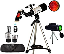 Astronomical Telescopes + Monocular Travel Scope 70mm Aperture 400mm AZ Mount Astronomical Refractor Telescopes for Kids Adults Beginners - Portable Bag, Smartphone Adapter, Camera Remote