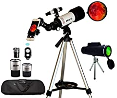 ✅ BUY 1 GET ONE FREE: Buy astronomical telescope get monocular telescope free. It supports STEM learning and encourages scientific exploration and a love of nature. Whether it's hiking or backyard play the handy backpack allows for easy carrying enab...