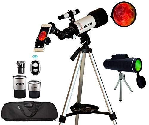 Astronomical Telescopes + Travel Monocular Telescope Scope 70mm Aperture 400mm AZ Mount Astronomical Refractor Telescopes for Kids Adults Beginners - Portable Bag, Smartphone Adapter, Camera Remote