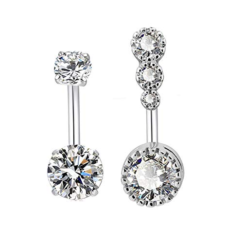 HQLA 14G Surgical Steel Belly Button Rings Sparkly Round Clear CZ Navel Curved Barbell Studs Sexy Body Piercing Set for Women Girls (2PC(Steel))