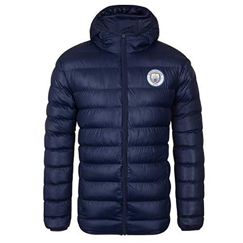 Manchester City FC - Herren Winter-Steppjacke mit Kapuze - Offizielles Merchandise - Geschenk für Fußballfans - S
