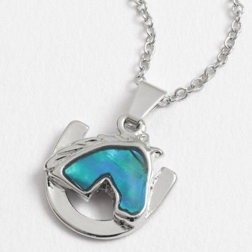 Kids Inlaid Paua Shell Horse Head & Horseshoe Necklace Loot / Party Bag Filler