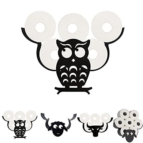 KIMIST Porte-rouleau de Papier Toilette en Métal Noir avec Motif Animal Support Mural pour Rouleaux de Papier Toilette Accessoires pour Chambre Cuisine Salle de Bain Chouette