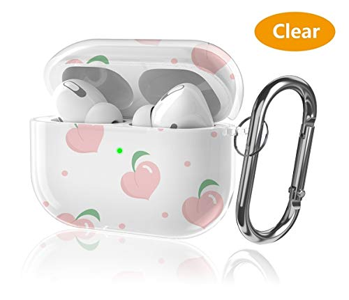 Youtec Airpods pro Case Cover, Cute Clear Airpods 3 Protective Cover Skin for Girl Women Men Shockproof Hard PC Case with Keychain Compatible Airpods pro Charging Case 3rd Gen 2019 [Front LED Visible]