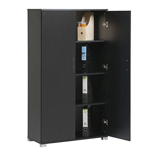 Armadio da ufficio, di colore nero, per riporre accessori di cancelleria, con 4 ripiani, 2 ante, 800 mm d larghezza, grande capienza, fino a 40 scatole di documenti di formato A4