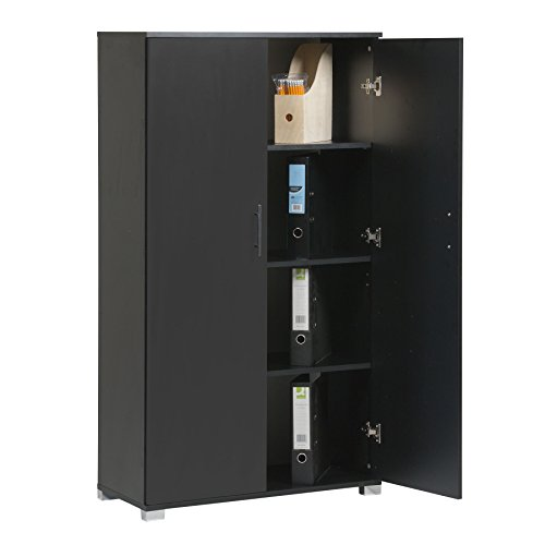 MMT Furniture Designs Black Office Storage Cupboard 2 Door LockingBookcase 140cm Tall MMT-IV02Black