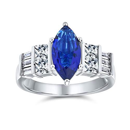 [ブリングジュエリー] サファイア カラー CZ (キュービックジルコニア) リング スターリング シルバー 925 銀 指輪 婚約指輪 サイズ 18号