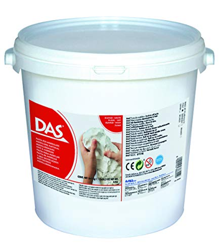 DAS Modelliermasse Air Dry Clay White - School Pack 5 x 1 kg Eimer, 386000