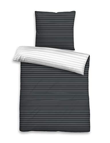 HUCKE Berlin 0046602 Bettwäsche Garnitur mit Kopfkissenbezug Renforcé 1x 135x200 cm + 1x 80x80 cm, titanium