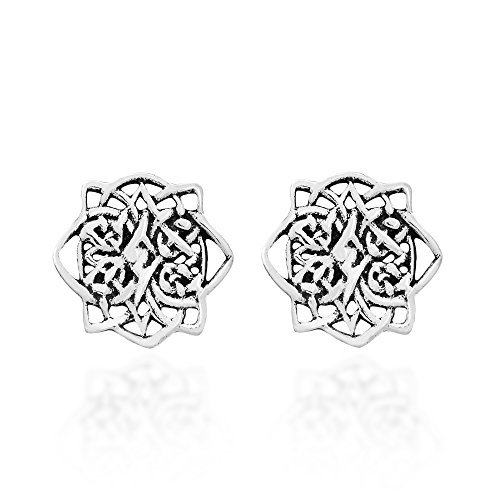 Mystic Lotus Celtic Knot .925 Sterling Silver Post Earrings