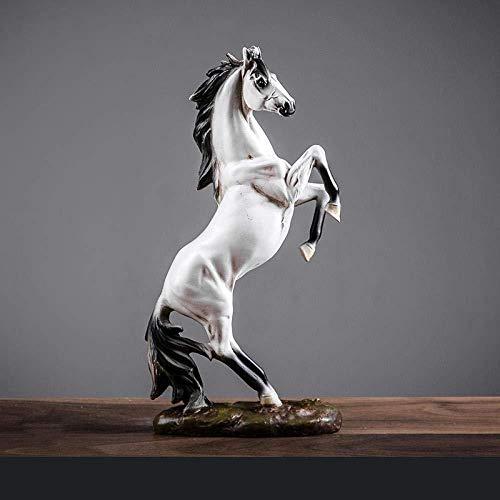 Ornamenten Verzamelobjecten Nordic Hars Zwart-Wit Paard Standbeeld Sculptuur Imiteren Van Antieke Decoratieve Woonaccessoires-Wit